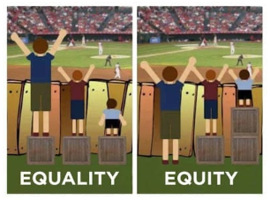 Spectators at a baseball game showing Equality vs Equity